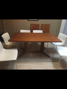 Gorgeous Danish TEAK table and 6 modern chairs