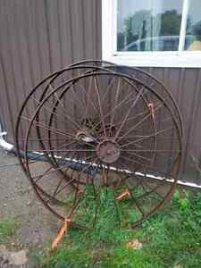 Antique steel wagon wheels