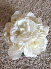 Cream rose in sliver pot