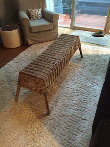 Rustic Ikea wicker bench