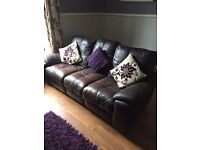 Brown leather recliner sofa 3 + 2 seater