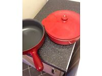 Red piral albibola Italy stockpot and casserole dish