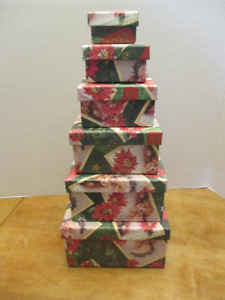 Nesting/stacking Santa Claus Boxes - set of 6 - NEW