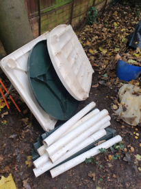 3 outdoor plastic tables - free to collector