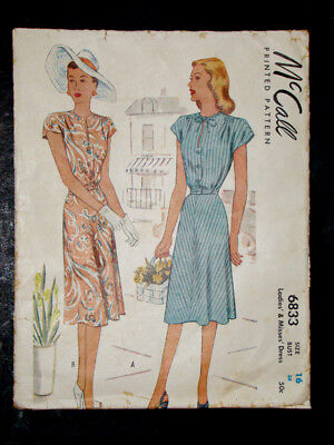 UNCUT! 1940's Vintage McCALL #6833 Fashion PRINTED DRESS PATTERN / Sz16  Bust 34