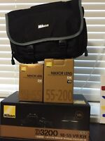 Nikon D3200 with 18-55 ED2 and 55-200 VR2 lenses w/New Bag