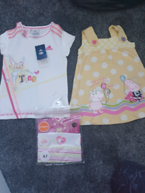 Girls dress ,new Adidas tshirt and new vests age 3-4