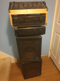 Disco speakers and mixer table and 2 x AMPs