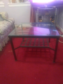 Argos square black glass coffee table new