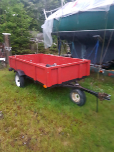 Folding 4x8 utility trailer with tilt deck and sides