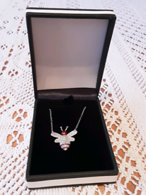 Silver and enamel bee necklace