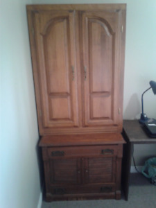 MOVING SALE !!!!! Solid maple shelving unit with doors
