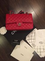 Chanel classic flap red caviar