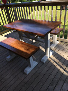 Beautiful custom made farm house table and benches