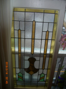 LARGE STAINED GLASS WINDOW-WOOD FRAME $$ lowered