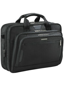 "Briggs & Riley KB207X-4 Business 15.6"" Laptop Briefcase, (Black)"