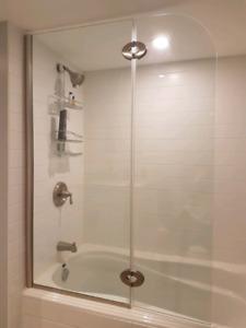 Shower glass door for tub