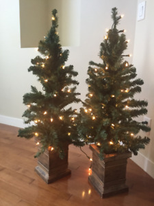 Pair of Faux Lit Trees in Planters