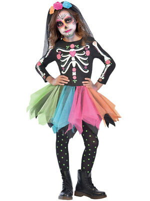 Girls Sugar Skull Day of The Dead Costume Mexican Halloween Fancy Dress Kids - Sugar Skull Kid Kostüm
