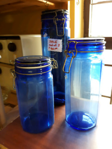 3 Dark Cobalt Blue Glass  Kitchen Canisters Vintage Storage Jars