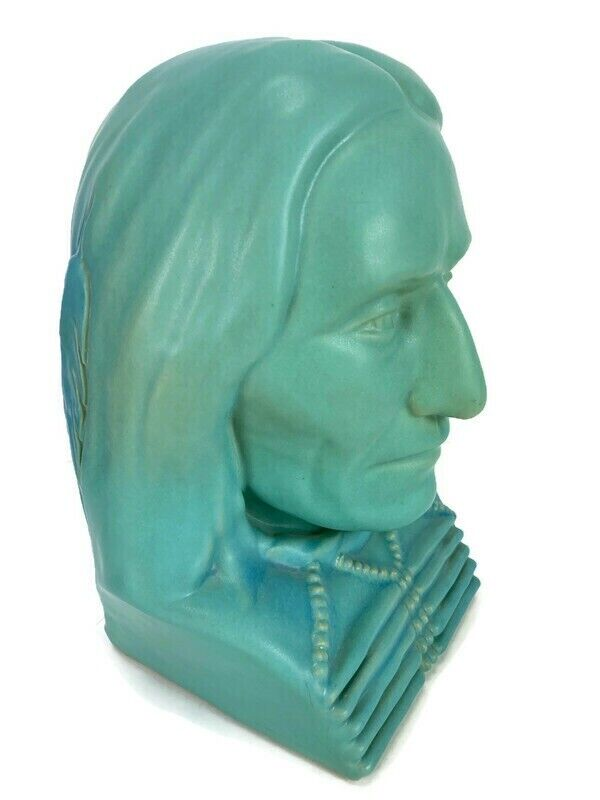 Van Briggle Pottery Red Cloud 1983 Turquoise Bust Native American Indian Chief