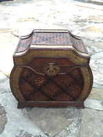 Small Antique Storage Trunk / Vintage Chest Wood with Gold Trim