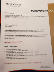 Pacific Coastal Airlines GOLD Voucher for 2 round trip
