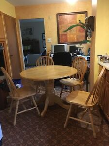 Dining Room Set - Pedestal Table and Four Chairs - Moving Sale