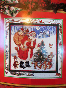 Christmas Scene, Counted Cross Stitch, comes with Mat and Frame