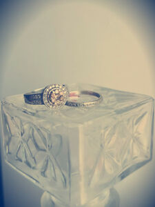 Champagne and White Diamond Engagement Ring/Set