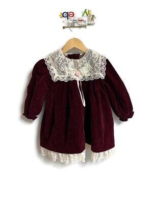 Jo Lene Girls 3T Maroon Velvet Pink Ribbon Dress  Vintage USA