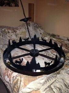 Rustic Wagonwheel Nature Silhouette Steel Chandelier