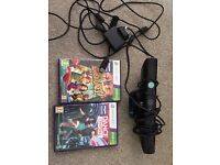 Xbox 360 Kinect plus 2 games