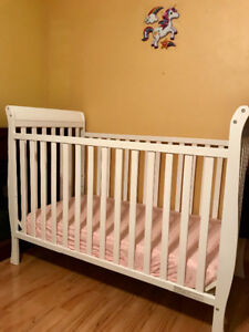 White Crib and Evenflo booster seat for sale