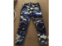 JPS Blue Camo Motorcycle Trousers