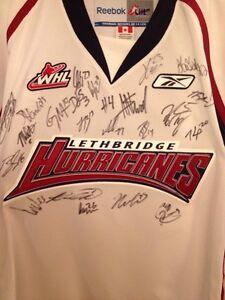 Entire Team Autographed Lethbridge Hurricanes Pro Jerseys.