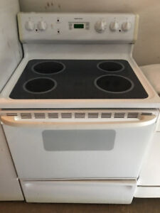 "MUST GO Moffat 30"" electric white glass ceramic top stove range"