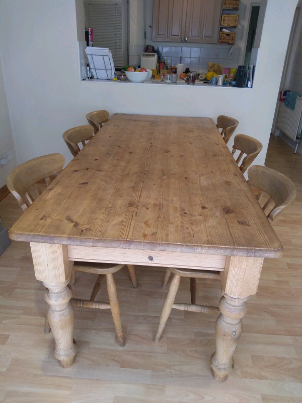 Solid Pine 7ft Kitchen Table And Chairs