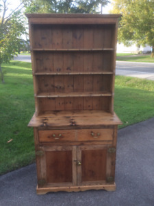 Antique Pine Flat To Wall Open Cupboard (c.1850's)
