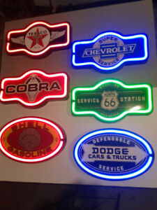 NEON GASOLINE BEER AND SODA SIGNS