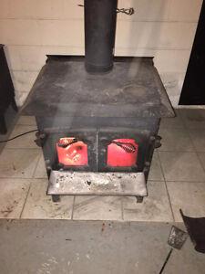 Large wood stove.