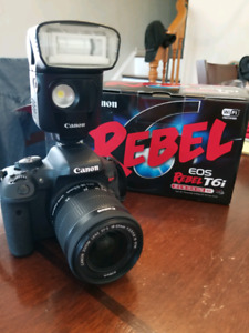Canon EOS REBEL T6i with external flash.