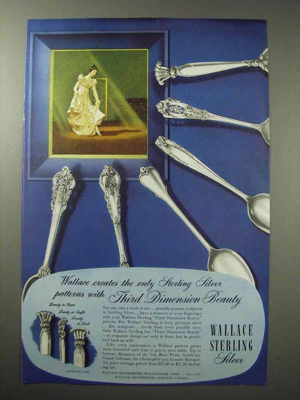 1950 Wallace Silverware Ad - Sir Christopher +