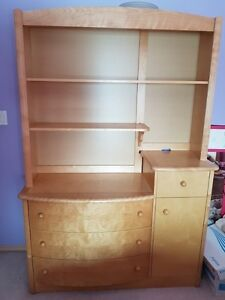 Solid Maple Dresser with Matching Shelving Unit