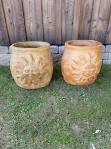 2 Large Matching Sun Face Clay Flower Pots