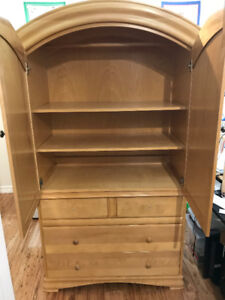 Wood Armoire - two parts.  Top, 3 shelves. Bottom, 3 drawers
