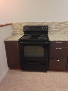 """Black, self-cleaning """"GE"""" Stove"""