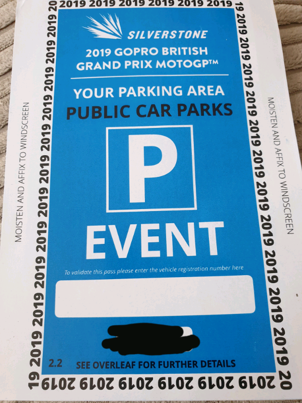 Moto GP Silverstone Parking Ticket