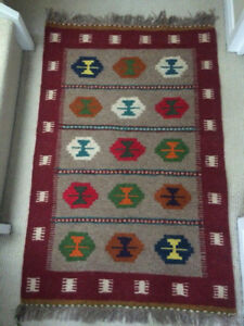 "tribal unique handmade kilim rug runner (20"" x 42"") wool"