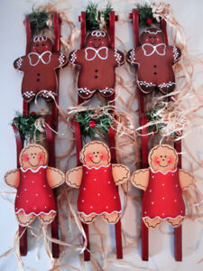 Gingerbread Christmas Decorations - Set of Six